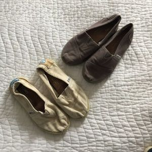 TOMS Kids 13.5 Gray Beige Slip On Shoes Bundle